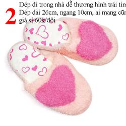 Dép đi trong nhà dễ thương hình trái tim màu hồng dép dài 26cm ngang 10cm ai mang cũng vừa giá sỉ 60k/đôi