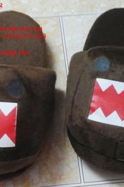 Dép bông hình thú đi trong nhà hình gấu nhe răng - dài 26cm - rộng 10cm giá sỉ, giá bán buôn