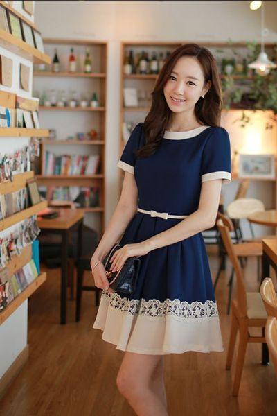 Đầm xòe chân váy ren adv-15