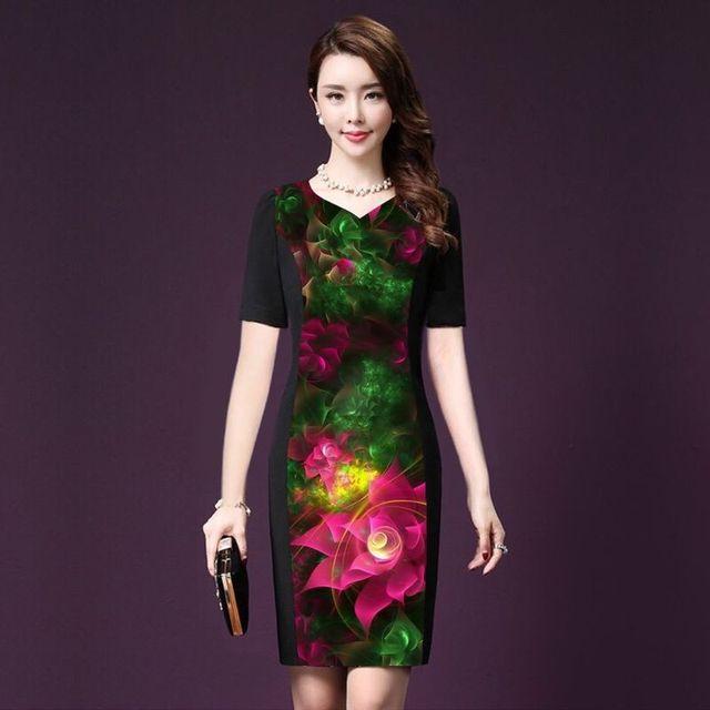 Đầm cao cấp cổ tim in 3d hoa tiên hồng có size xxxl