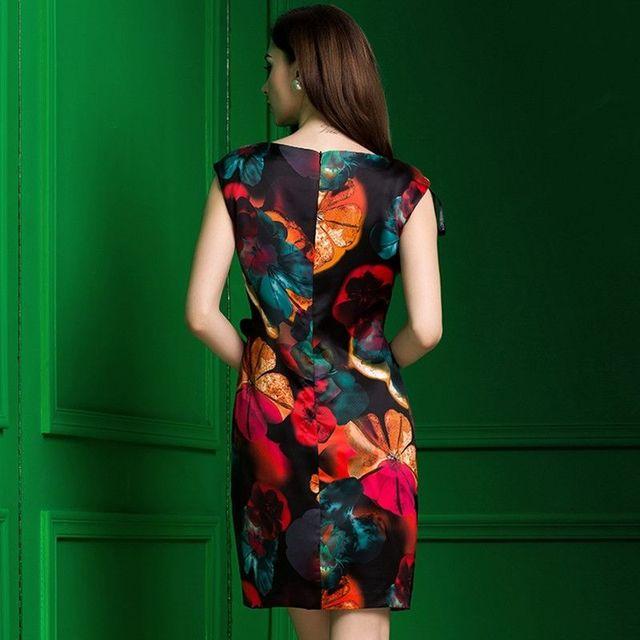 Đầm in 3d emy họa tiết hoa tímeo xếp ly đínhhoa có size xxxl