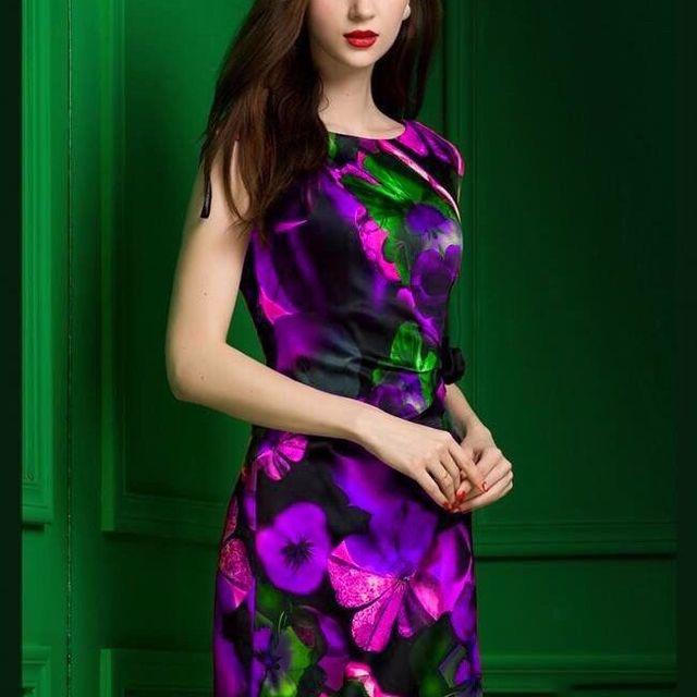 Đầm in 3d emy họa tiết hoa vàngeo xếp ly đínhhoa có size xxxl