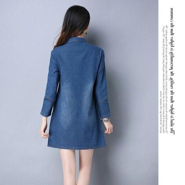Đầm jean suông cổ sơ mi v sâu tay dài có size xxl
