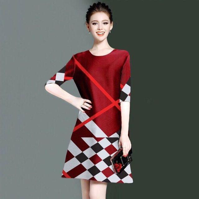 Đầm suông cao cấp in 3d phối màu đỏ họa tiết caro có size xxxl