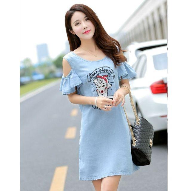 Đầm Jean Suông Hở Vai Summer Kiss - giá sỉ, giá tốt