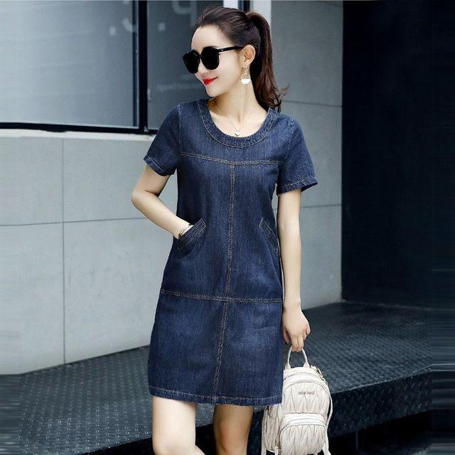 Đầm Jean Suông Cổ Tròn Phối Túi  - giá sỉ, giá tốt