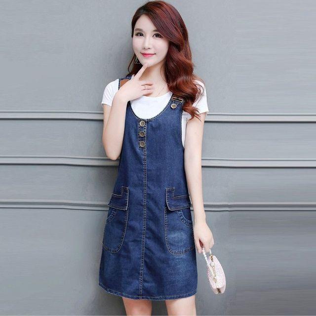 Đầm Jean Yếm Dây Da Phối Túi  - giá sỉ, giá tốt