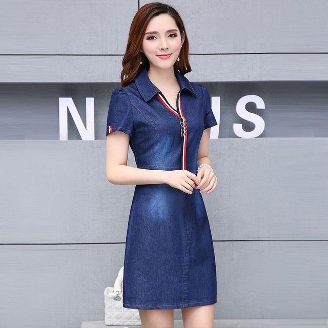 Đầm Jean Suông Cổ Sơ Mi Phối Phụ Kiện - giá sỉ, giá tốt