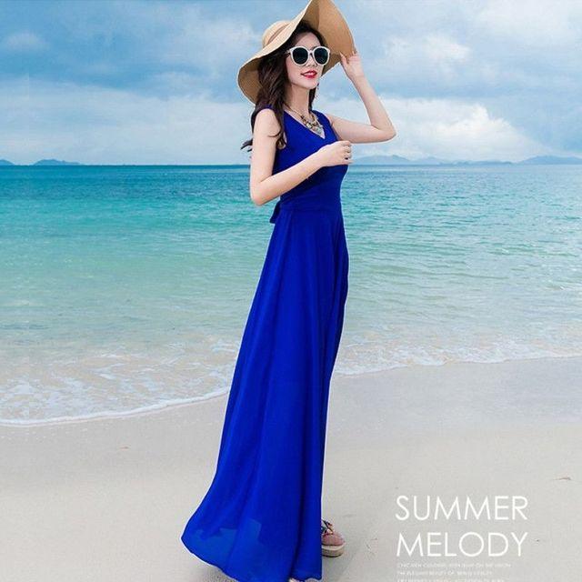 Đầm maxi xanh cao cấp cổ V thắt eo nơ - giá sỉ, giá tốt