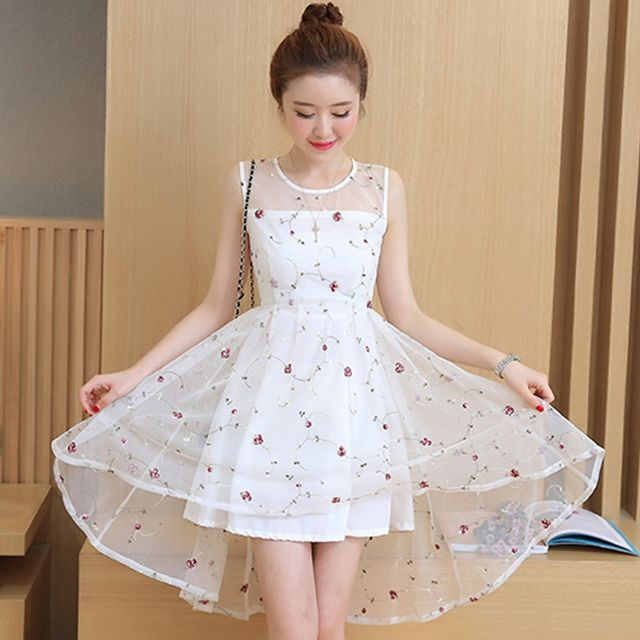 Đầm Amy Đen Đuôi Tôm Ren Hoa - giá sỉ, giá tốt