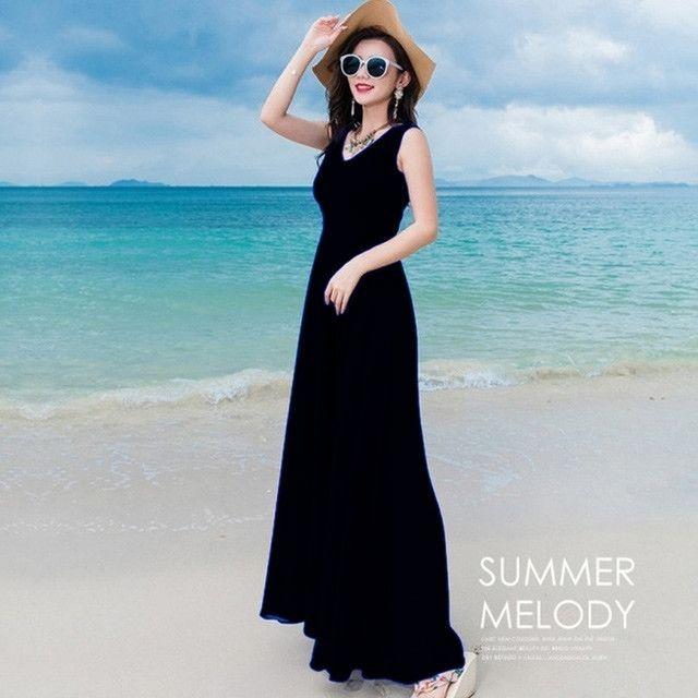 Đầm maxi dài đen cao cấp cổ V thắt eo nơ - giá sỉ, giá tốt