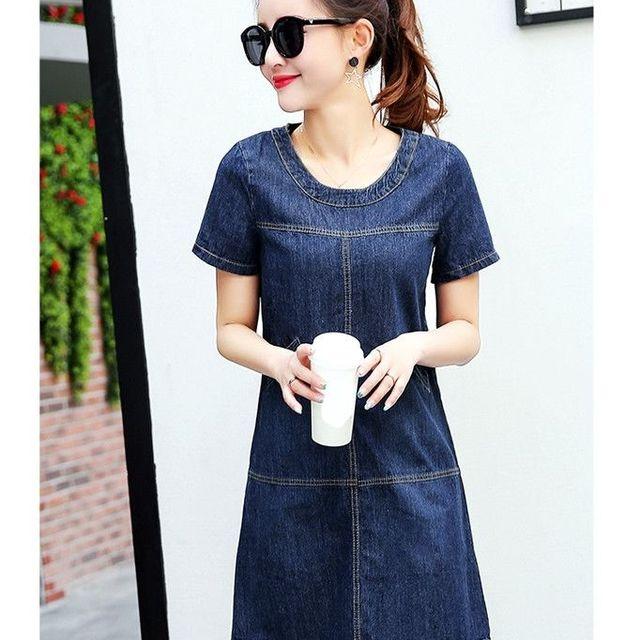 Đầm Jean Suông Phối Túi Cổ Tròn  - giá sỉ, giá tốt