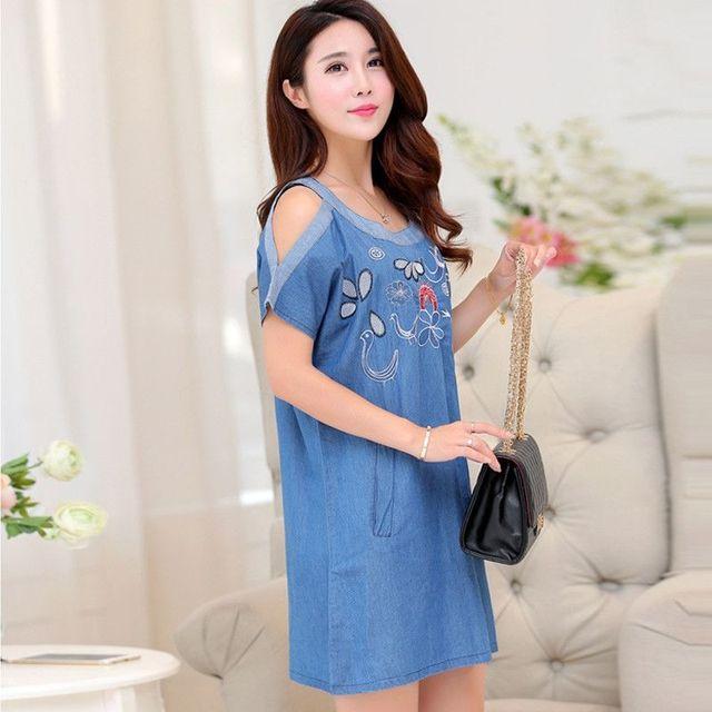Đầm Jean Suông Hở Vai Thêu Hoa Cách Điệu - giá sỉ, giá tốt