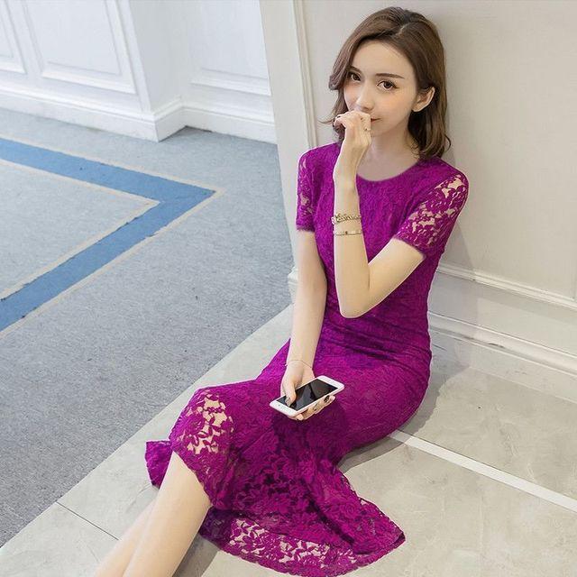 Đầm Ren Tím Cẩm Đuôi Cá Cao Cấp Ngắn Tay Candy - giá sỉ, giá tốt
