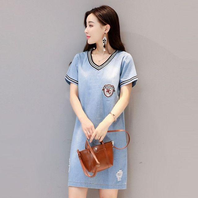 Đầm Jean Suông A Logo Manchester City Phối Bo Sọc - giá sỉ, giá tốt