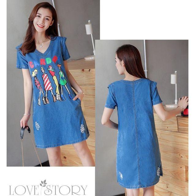 Đầm Jean Suông Four Girls Phối 2 túi - giá sỉ, giá tốt