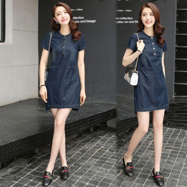 Đầm jean cổ trụ phối túi Eris - giá sỉ, giá tốt