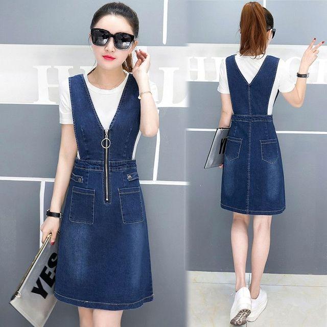 Đầm Jean Yếm cutout eo phối dây kéo TUDUO - giá sỉ, giá tốt