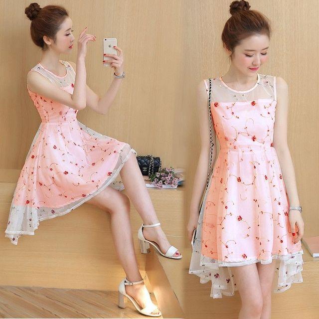 Đầm Amy Cam Dâu Đuôi Tôm Ren Hoa - giá sỉ, giá tốt