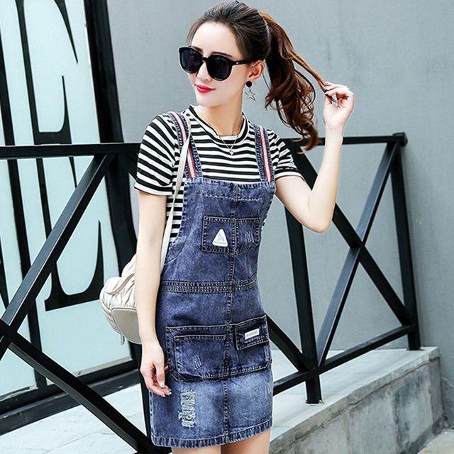 Đầm Jean Yếm Dây Sọc Phối Túi Wash Rách - giá sỉ, giá tốt