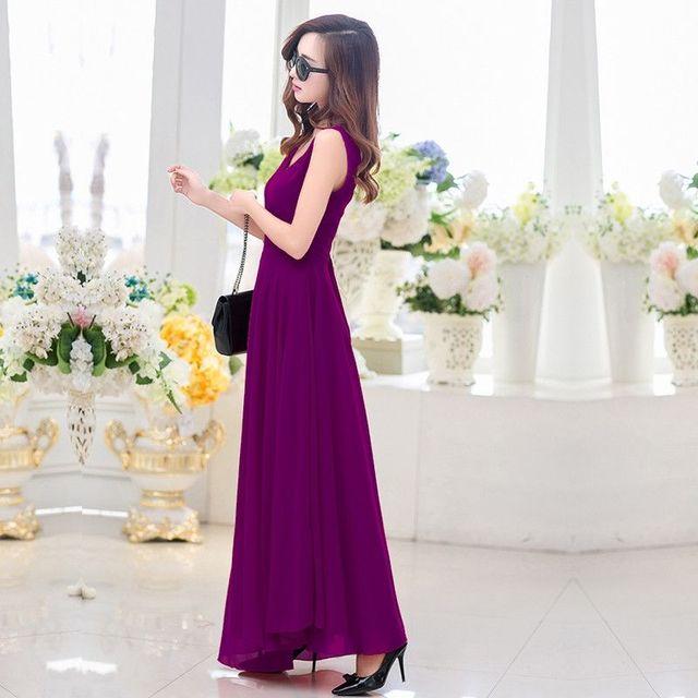 Đầm maxi cao cấp màu đỏcổ V thắt eo nơ Anna - giá sỉ, giá tốt