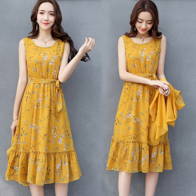 Đầm xòe dáng dài cột nơ eo Sunny - giá sỉ, giá tốt