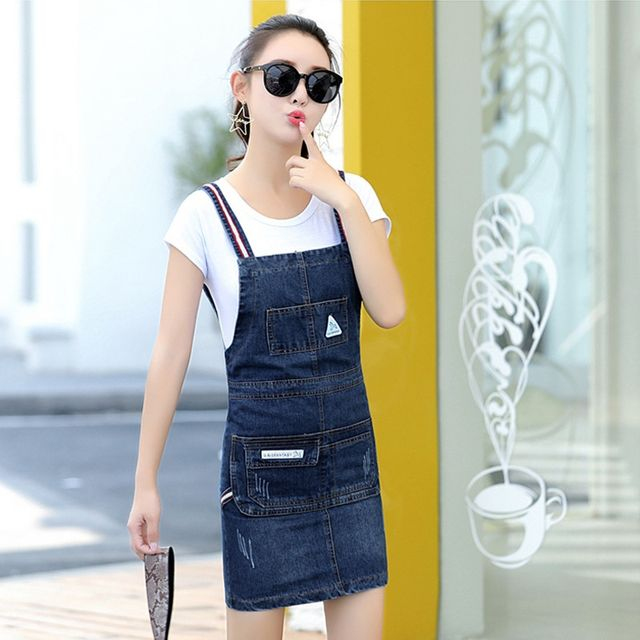 Đầm Jean Yếm Dây Sọc Phối Túi Sành Điệu - giá sỉ, giá tốt