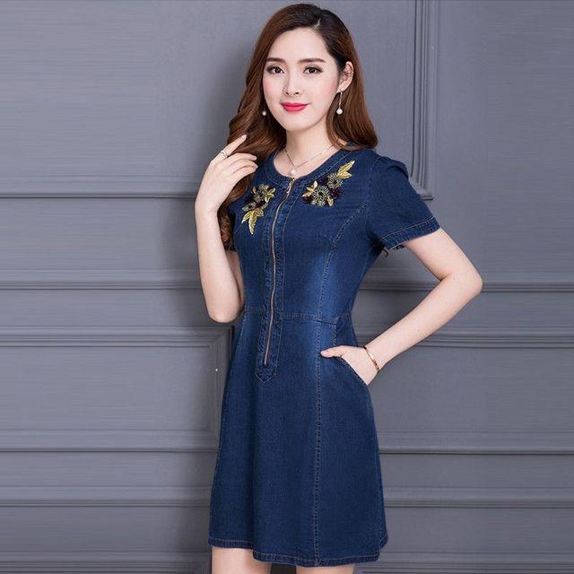 Đầm Jean Thêu Hoa Phối Dây Kéo Trước  - giá sỉ, giá tốt