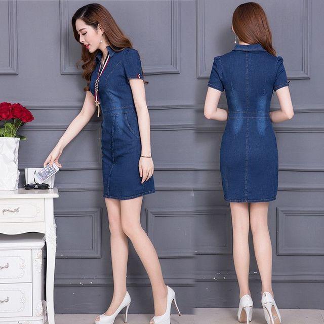 Đầm Jean Cổ Sơ Mi Phối Dây Guci - giá sỉ, giá tốt