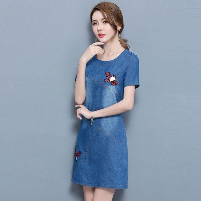 Đầm Jean Thêu Hoa Đào Cao Cấp - giá sỉ, giá tốt