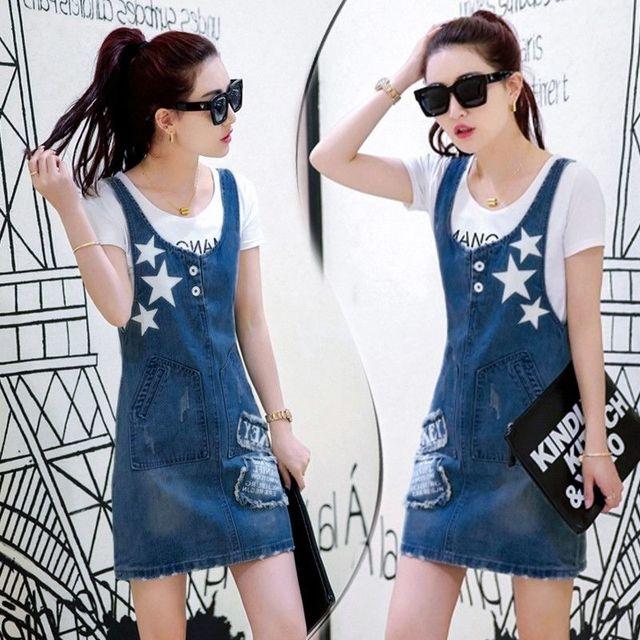 Đầm Jean Yếm In Ngôi Sao KEY - giá sỉ, giá tốt