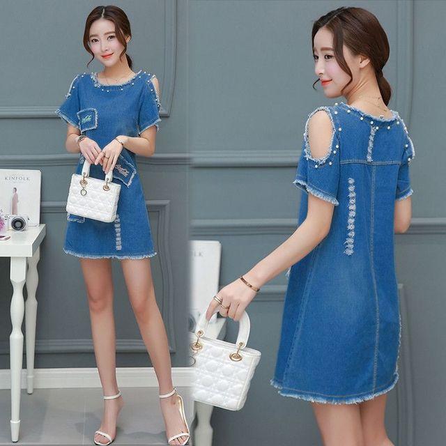 Đầm Jean hở vai Coca đính ngọc trai - giá sỉ, giá tốt