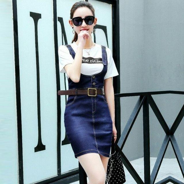 Đầm Jean Yếm Dây Dài Phối 2 Nút - giá sỉ, giá tốt