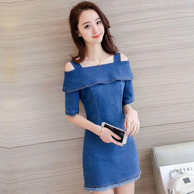 Đầm Jean Cutout Vai Lật Sành Điệu - giá sỉ, giá tốt