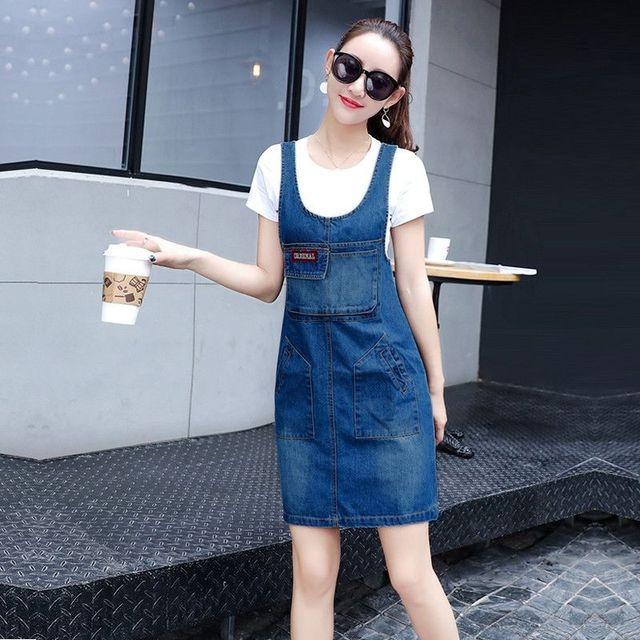 Đầm Jean Yếm Phối Túi Cách Điệu - giá sỉ, giá tốt