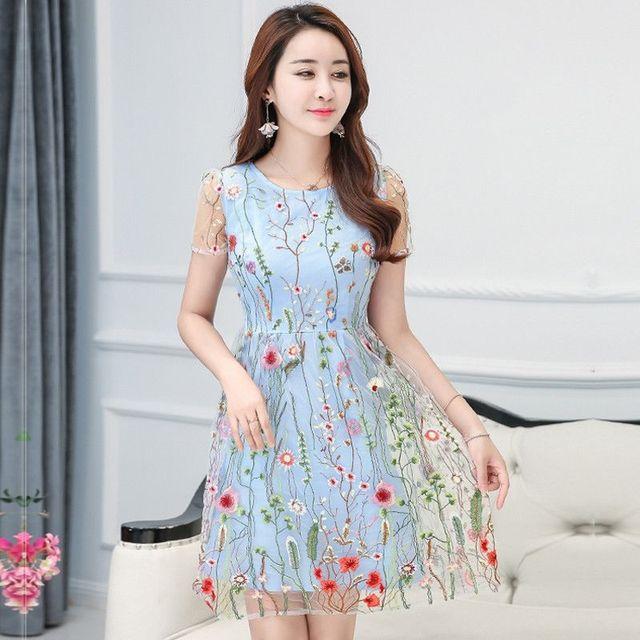 Đầm Xòe Ren Lưới Thêu Sun Flowers Xanh - giá sỉ, giá tốt