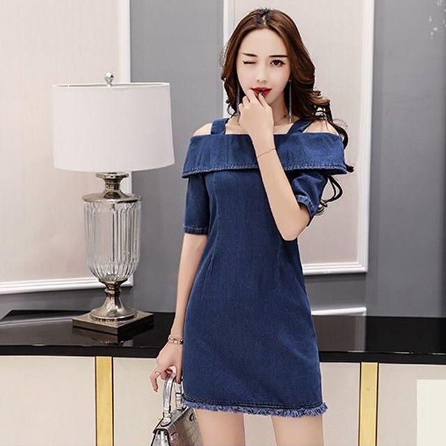 Đầm Jean hở vai phối 2 dây tay lỡ - giá sỉ, giá tốt