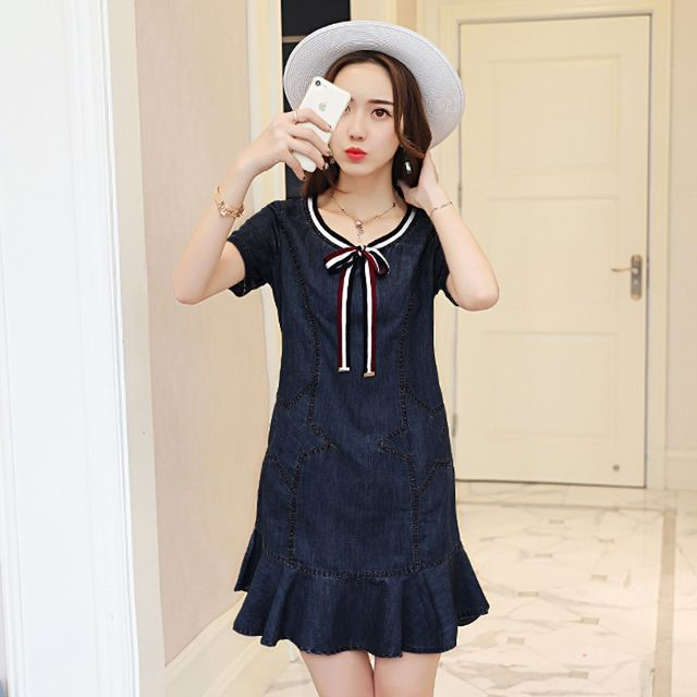 Đầm Jean Đuôi Cá Ngôi Sao Cột Nơ - giá sỉ, giá tốt