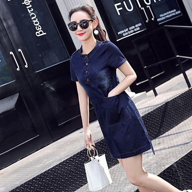 Đầm jean cổ trụ phối túi sành điệu - giá sỉ, giá tốt