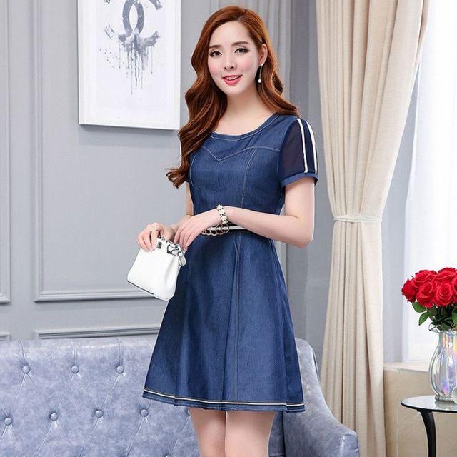 Đầm Jean Xòe Tay Lưới Kèm Nịt  - giá sỉ, giá tốt