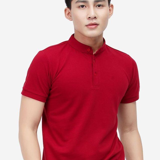 Áo THUN Titishop AT300 cổ trụ màu đỏ