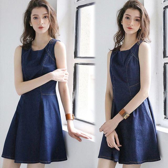 Đầm Jean Xòe Sát Nách Beauty - giá sỉ, giá tốt