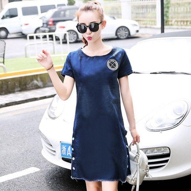 Đầm Jean Suông Thêu Logo Xẻ Lai Phối Nút - giá sỉ, giá tốt