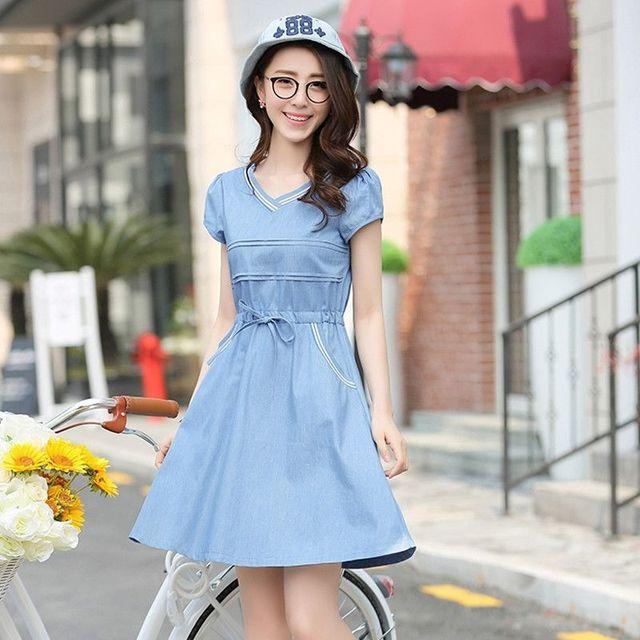 Đầm Jean Xòe Dây Rút Cổ Tim Bo Phối Túi - giá sỉ, giá tốt