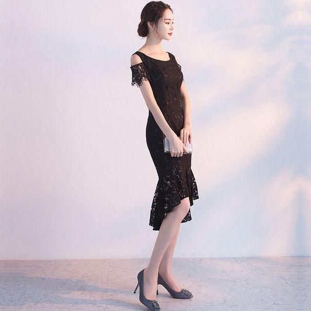 Đầm ren cao cấp đuôi cá dài hở vai - giá sỉ, giá tốt