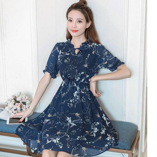 Đầm xòe hoa nơ cổ V nhún xanh đen có size XL