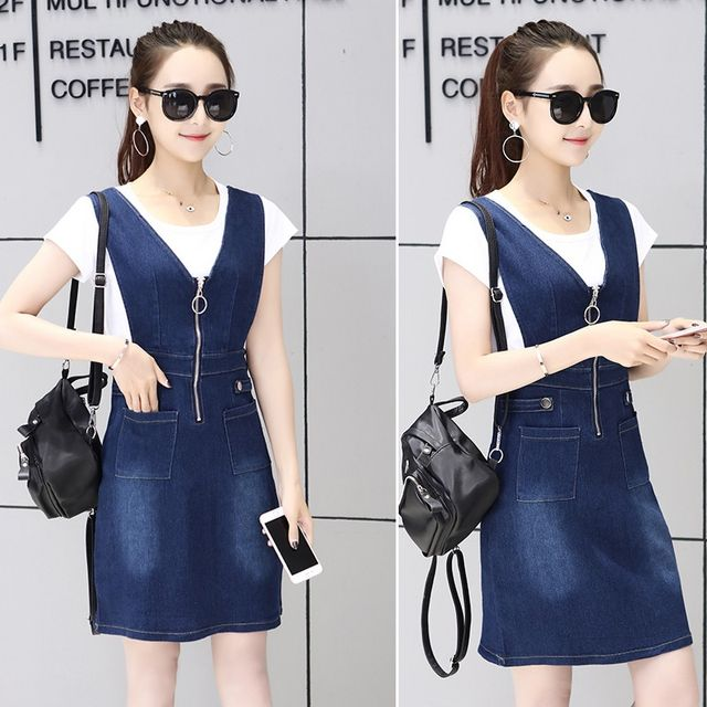Đầm Jean Yếm dây kéo trước cutout eo phối túi - giá sỉ, giá tốt