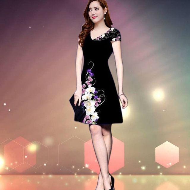 Đầm in 3D hoa lan cổ tim  - giá sỉ, giá tốt