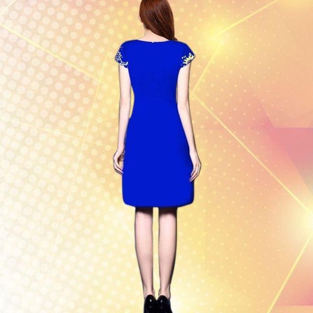 Đầm in 3D hoa xanh cổ tim - giá sỉ, giá tốt