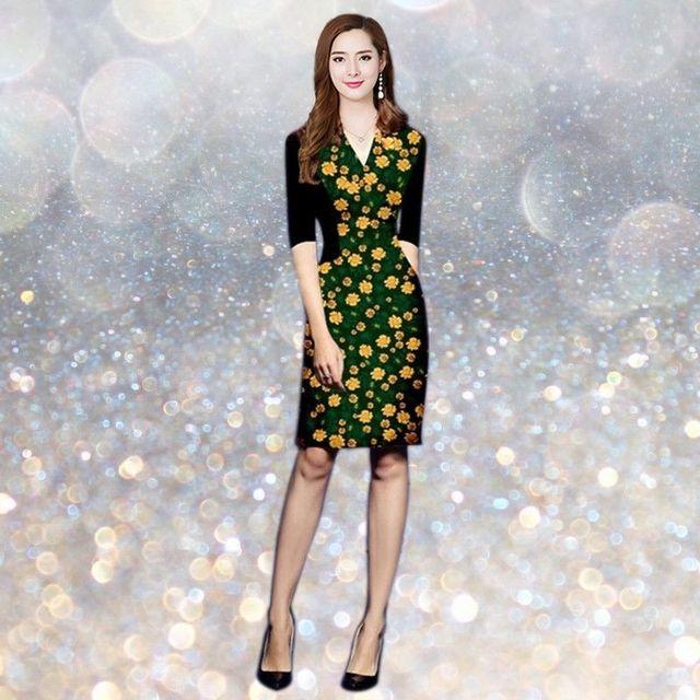 Đầm in 3D cổ V Hoa Summer - giá sỉ, giá tốt